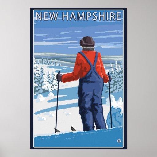 New HampshireSkier Admiring View Poster