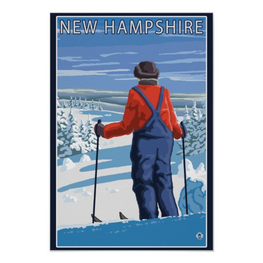 New HampshireSkier Admiring View Poster