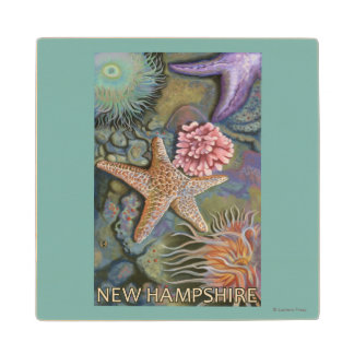 New HampshireTidepool Scene Wood Coaster