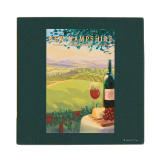 New HampshireWine Country Scene Wood Coaster