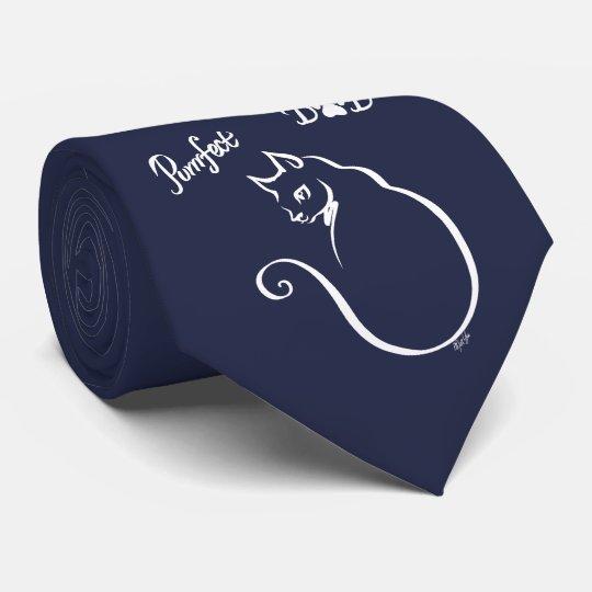 New Hand Drawn Perfect Dad Cat Tie