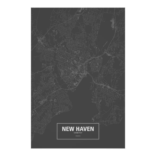 New Haven, Connecticut (white on black) Poster