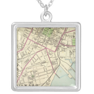 New Haven Map Silver Plated Necklace