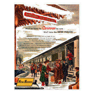 New Haven Railroad Christmas 1947 Postcard