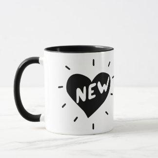 New Heart / Black ring mug