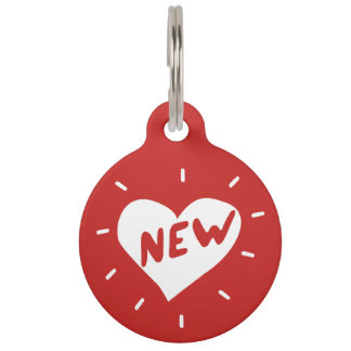 New Heart / Round Large Pet Tag
