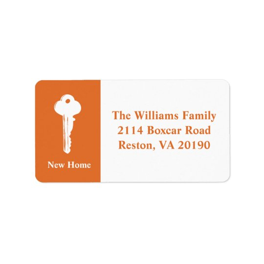 New Home Address Labels - Orange