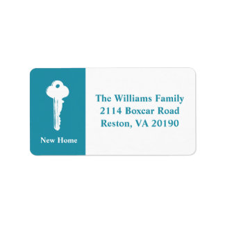 New Home Address Labels - Teal Blue