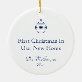 New Home Blueprint Drawing Blue and White Christmas Ornament