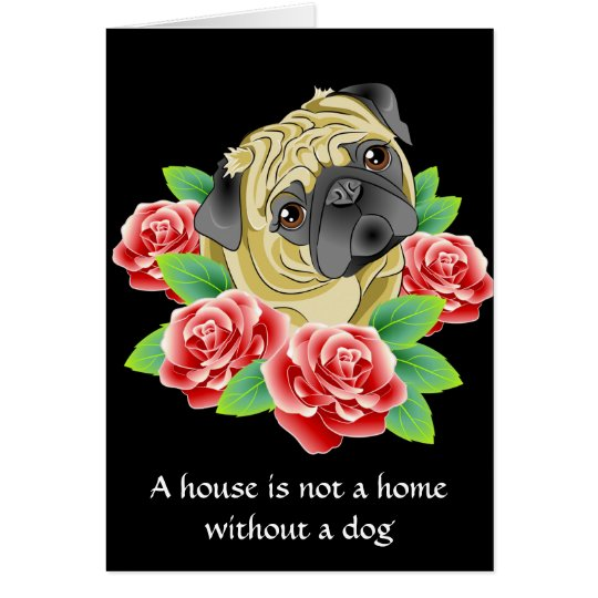 New Home Congratulations Card - Tattoo Style Pug