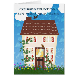 New Home Congratulations With A House And Flowers Greeting Card