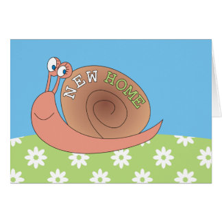 New Home Cute Snail in Meadow Greeting Cards