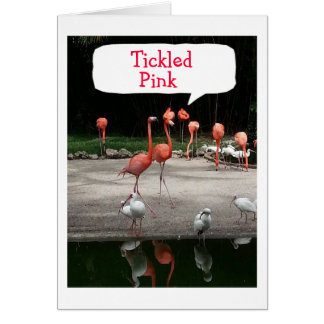 "**NEW HOME"" FLAMINGOS ARE ""TICKLED PINK"" GREETING CARD"