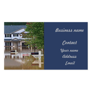 New home flooded due to storm business card template