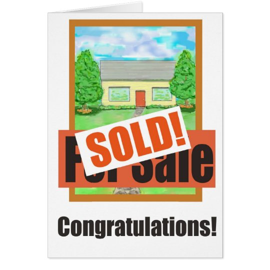New Home House Sold Paper Greeting Card