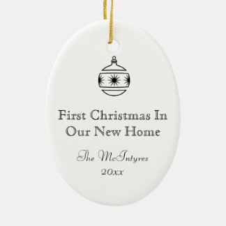 New Home Ink Drawing Black and White Christmas Ornament