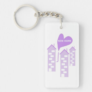 New Home love heart illustration of flats add text Single-Sided Rectangular Acrylic Key Ring