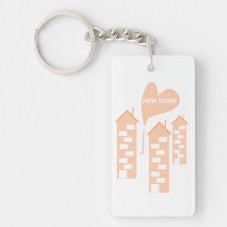 New Home love heart illustration of flats on key-r Single-Sided Rectangular Acrylic Key Ring
