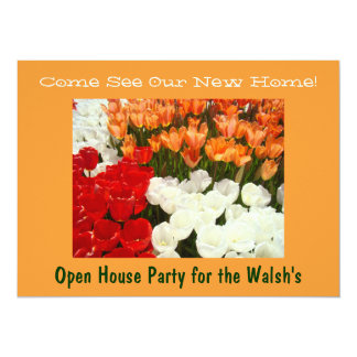 "New Home Open House Party Homewarming Tulips 5.5"" X 7.5"" Invitation Card"