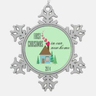 New Home Owner First Christmas Pewter Snowflake Decoration