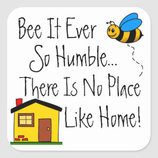 New Home Real Estate Bee Square Sticker