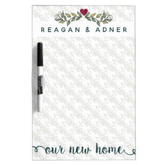 New Home Shopping Watercolor Leaves & Heart Dry Erase Board