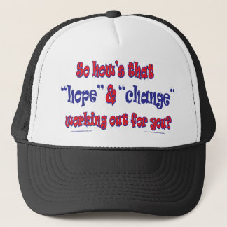 NEW-HOPE-AND-CHANGE-Funky Script Trucker Hat