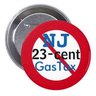 """New Jersey Anti 23 Cents Gas Tax 3"""" Button"""
