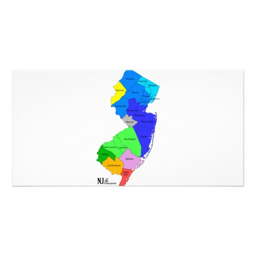 New Jersey Counties in Color Photo Card Template