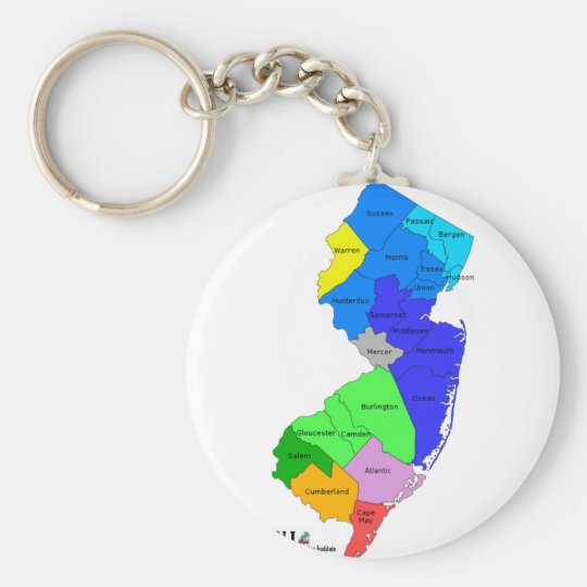 New Jersey Counties in Colour Basic Round Button Key Ring
