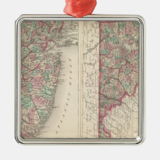 New Jersey, Delaware, and Maryland Silver-Colored Square Decoration