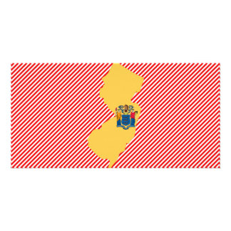 New Jersey Flag Map Customized Photo Card