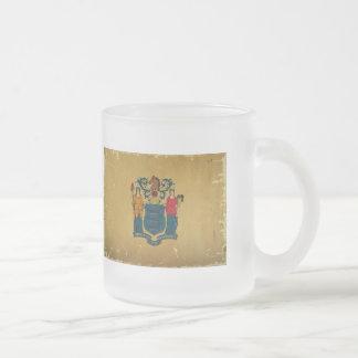 New Jersey Flag VINTAGE Frosted Glass Mug