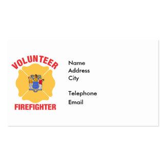 New Jersey Flag Volunteer Firefighter Cross Business Card Template