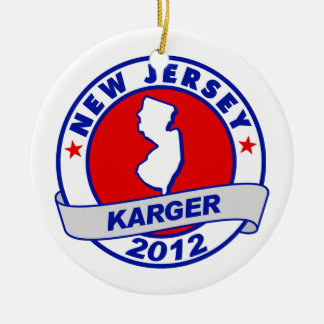 New Jersey Fred Karger Double-Sided Ceramic Round Christmas Ornament