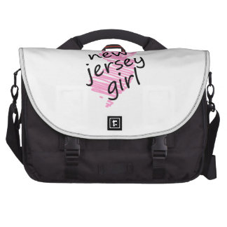 New Jersey Girl with Scribbled New Jersey Map Laptop Messenger Bag