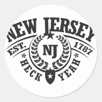 New Jersey Heck Yeah Est 1787 Round Sticker