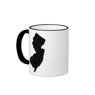 New Jersey in Black and White Ringer Mug