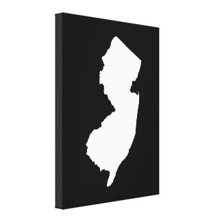New Jersey in White and Black Stretched Canvas Prints