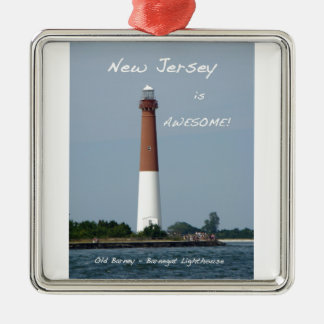 New Jersey is Awesome - Barnegat Lighthouse Silver-Colored Square Decoration