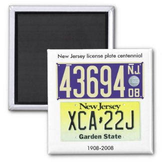 New Jersey License Plate Centennial Square Magnet