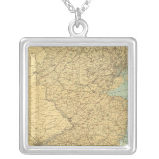 New Jersey Map Silver Plated Necklace