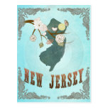 New Jersey Map With Lovely Birds Postcard