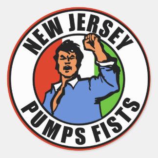 New Jersey Pumps Fists Round Sticker