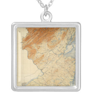 New Jersey Relief Map Silver Plated Necklace