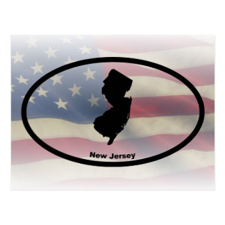 New Jersey Silhouette Oval Design Postcard