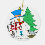 New Jersey Snowman Double-Sided Ceramic Round Christmas Ornament