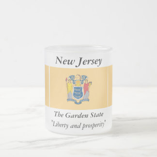 New Jersey State Flag Frosted Glass Coffee Mug