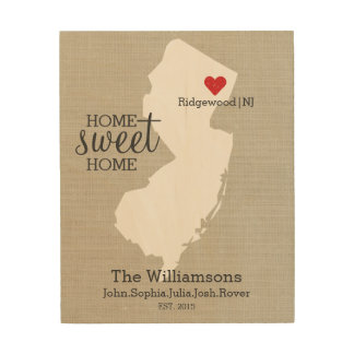 New Jersey State Love Custom Family Name Establish Wood Print