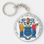 New Jersey State Seal and Motto Basic Round Button Key Ring